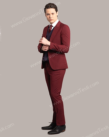 Giovanni Testi 2 Button Slim Fit Suit with Plaid Vest GT2DG+V-6817 Wine