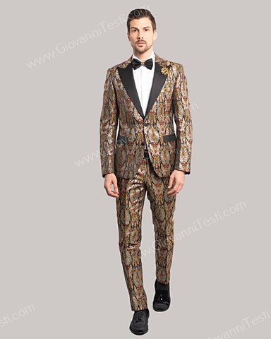 Giovanni Testi 2 Button Slim Fit Suit, Satin Peak Lapel GT2DG-4735 MULTI