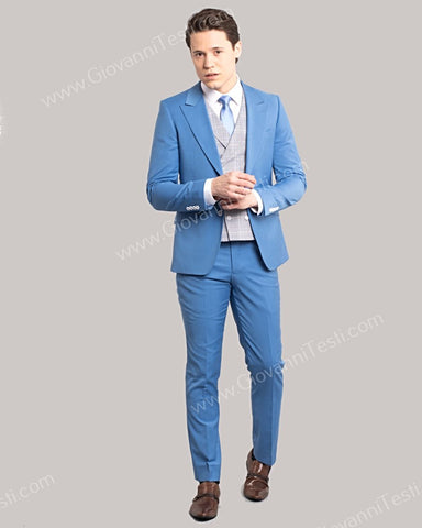 Giovanni Testi 2 Button Slim Fit Suit with Plaid Vest GT2DG+V-6817 Blue
