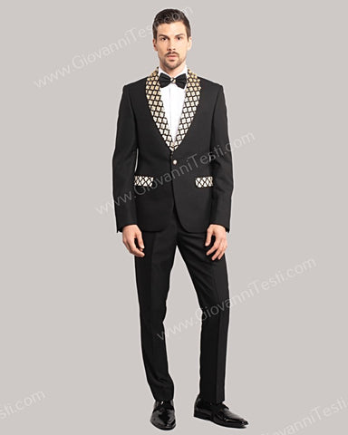 Giovanni Testi 1 Button Slim Fit Suit with Jewel Studded Shawl Lapel GT1S-2722 BLACK