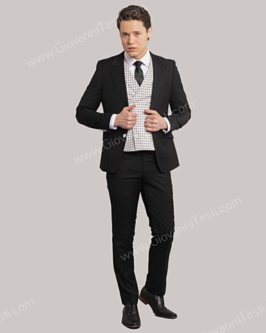 Giovanni Testi 2 Button Slim Fit Suit with Solid Black Vest GT2DG+V-6817 Black