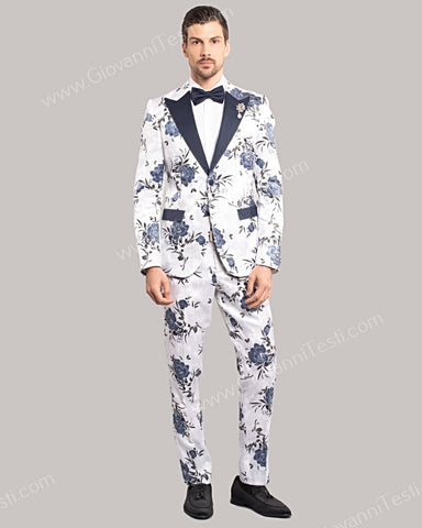 Giovanni Testi 2 Button Slim Fit Suit, Floral Design with Peak Lapel GT2DG-YAO