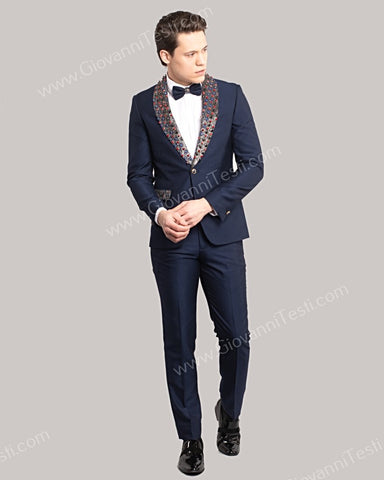 Giovanni Testi 1 Button Slim Fit Suit with Jewel Studded Shawl Lapel GT1S-2722 NAVY