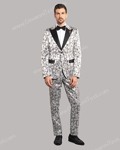 Giovanni Testi 2 Button Slim Fit Suit, Floral Design with Satin Lapel GT2DG-0742