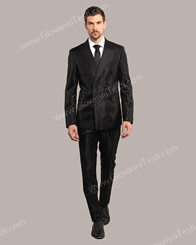 Giovanni Testi 2 Piece Slim Fit Double Breast Suit GT6DB-3083 BLACK
