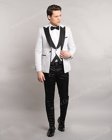 3 Piece 1 Button Slim Fit Tuxedo with Oval Pattern GT1ST-7063 White
