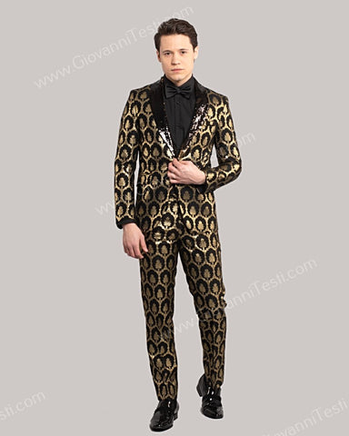 Giovanni Testi 1 Button Slim Fit Suit with Sequins Shawl Lapel GT1S-30005