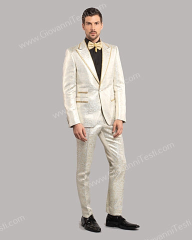 Giovanni Testi 1 Button Slim Fit Suit, Damask Pattern with Gold Trimmed Lapel GT1TH-071 LIGHT BLUE