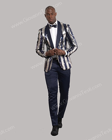 Giovanni Testi 1 Button Slim Fit Striped Sequins Jacket GT1S-YH