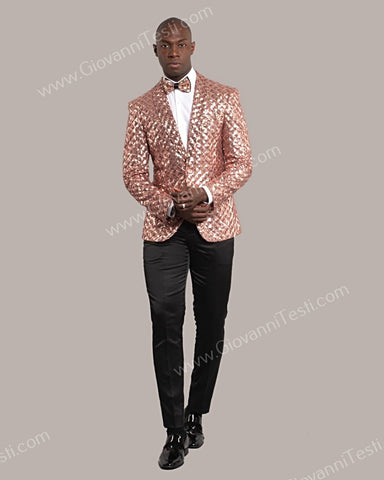 Giovanni Testi 1 Button Slim Fit Sequins Jacket GT1S-5311 BLUSH