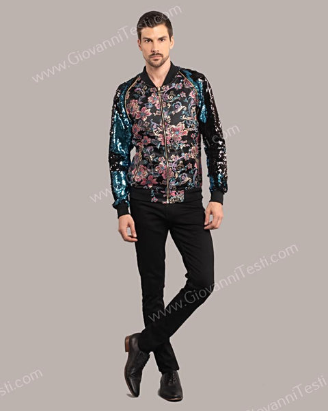 af815bc8d Giovanni Testi Slim Fit Bomber Jacket with Floral Design – Suitfellas