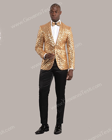Giovanni Testi 1 Button Slim Fit Sequins Jacket GT1S-5311 GOLD