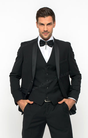 2 Button Black Slim Fit Suit with Shawl Lapel FF2SSX+V-1230