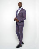 Giovanni Testi 2 Button Slim Fit  Suit with Peak Lapel GT2P-3380 Plum