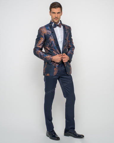 Giovanni Testi 2 Piece Slim Fit Suit with Bow Tie GTPI-7162 NBG