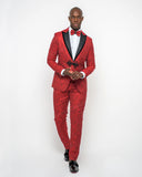 Giovanni Testi 2 Button Slim Fit Suit with Peak Lapel GTDGP-SHINE Red