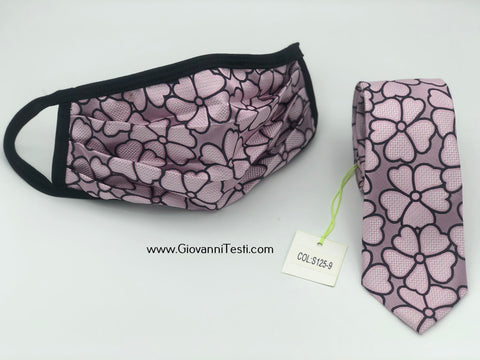 Face Mask & Tie Set S125-9, Pink