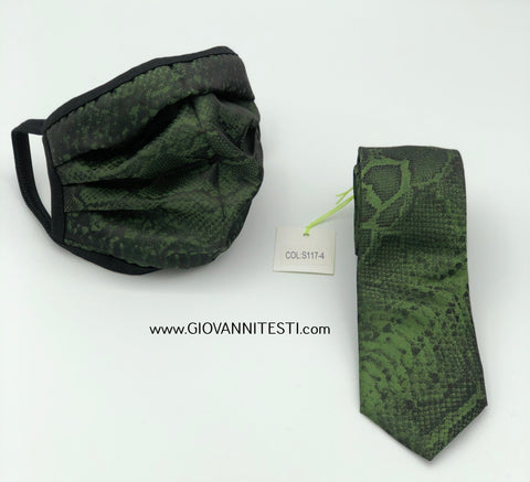 Face Mask & Tie Set S117-4, Green