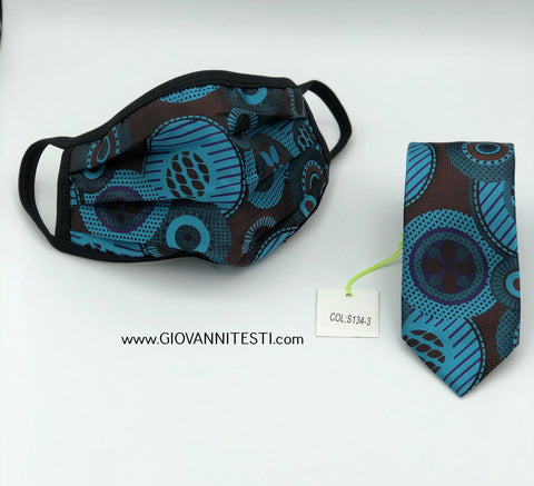 Face Mask & Tie Set S134-3, Turquoise