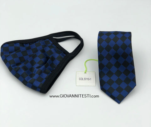 Face Mask & Tie Set S110-1, Blue Checkered