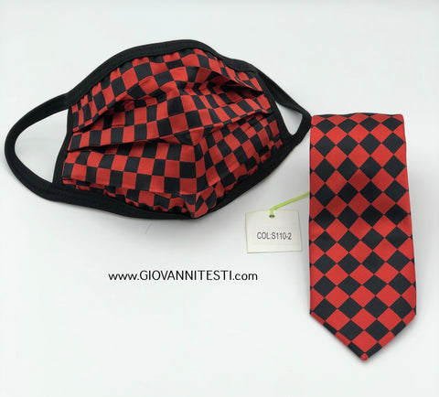Face Mask & Tie Set S110-2, Red Checkered