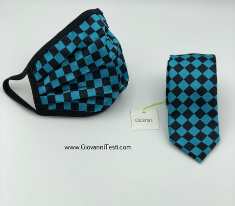 Face Mask & Tie Set S110-3, Turquoise Checkered