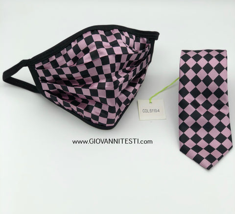 Face Mask & Tie Set S110-4, Pink Checkered