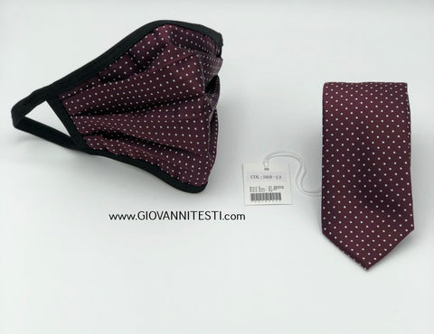 Face Mask & Tie Set S68-13, Burgundy Dot