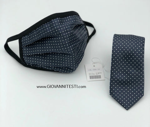 Face Mask & Tie Set S68-16, Charcoal Grey Dot