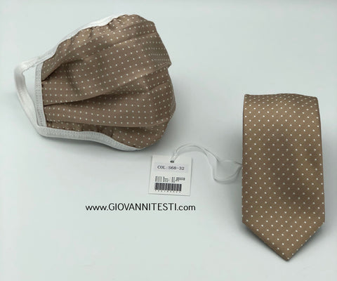 Face Mask & Tie Set S68-32, Champagne Gold Dot