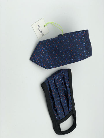 Face Mask & Tie Set S148-10, Navy Dot