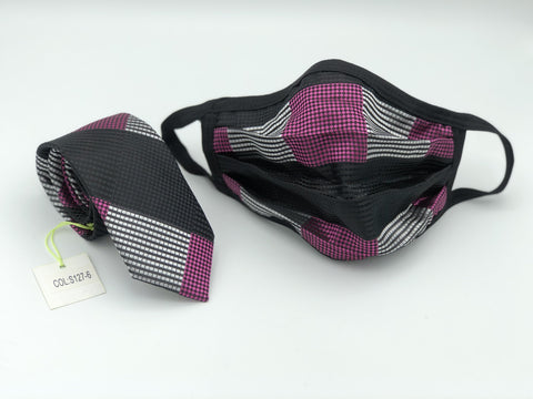 Face Mask & Tie Set S127-6, Fuschia Checkered