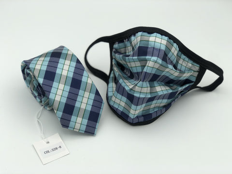 Face Mask & Tie Set S28-8, Blue Plaid
