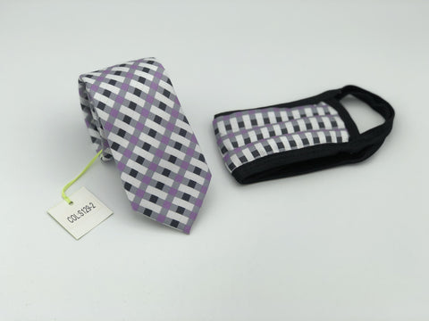 Face Mask & Tie Set S129-2, Purple Checkered