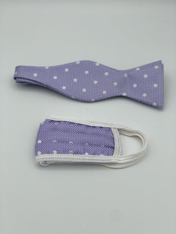 Self Bow Tie & Face Mask Set, Lavender Dot