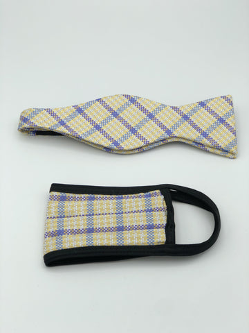 Self Bow Tie & Face Mask Set, Beige Plaid