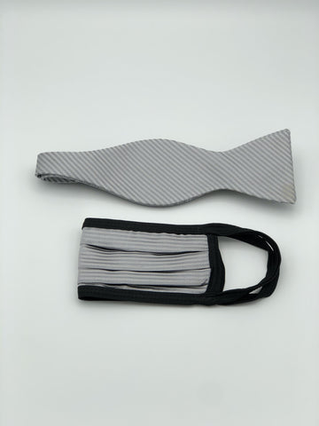Self Bow Tie & Face Mask Set, Grey Stripe