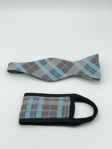 Self Bow Tie & Face Mask Set, Mint Plaid