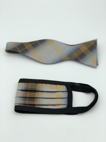 Self Bow Tie & Face Mask Set, Gold Plaid