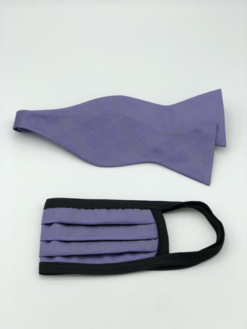 Self Bow Tie & Face Mask Set, Lavender Plaid
