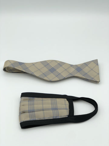 Self Bow Tie & Face Mask Set, Taupe Plaid