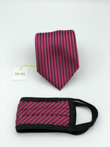Classic Tie & Face Mask Set, 115-5 Fuschia