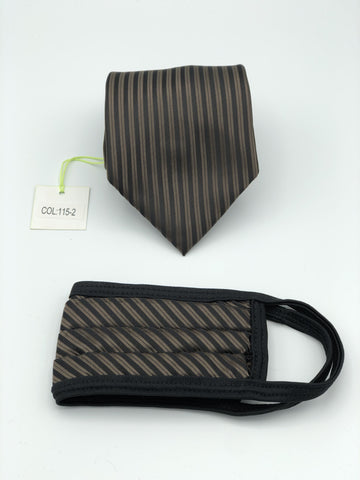 Classic Tie & Face Mask Set, 115-2 Brown