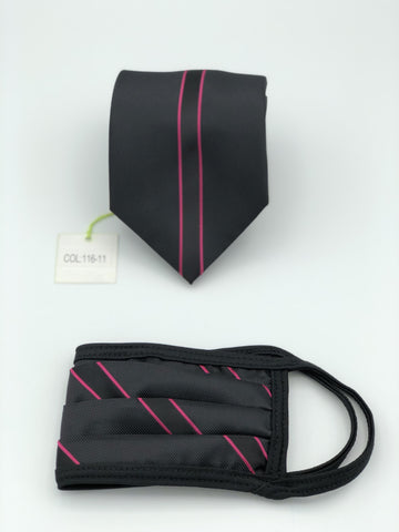 Classic Tie & Face Mask Set, 116-11 Fuschia
