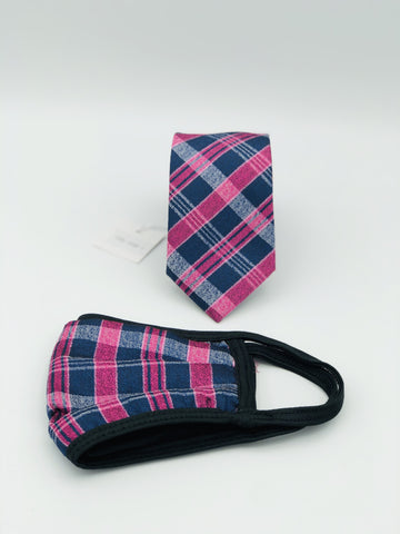 Face Mask & Tie Set S46-1, Fusia / Navy Plaid