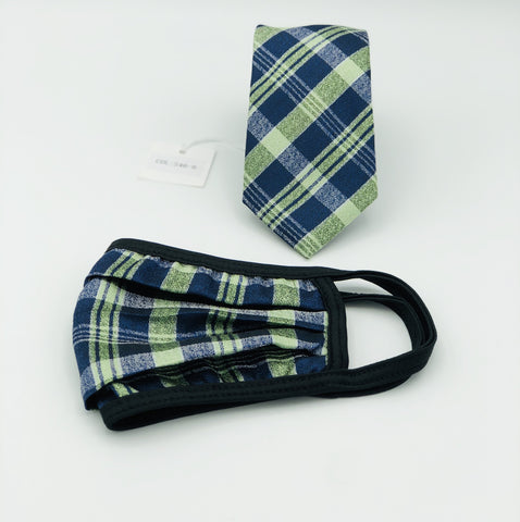 Face Mask & Tie Set S46-6, Green/Navy plaid