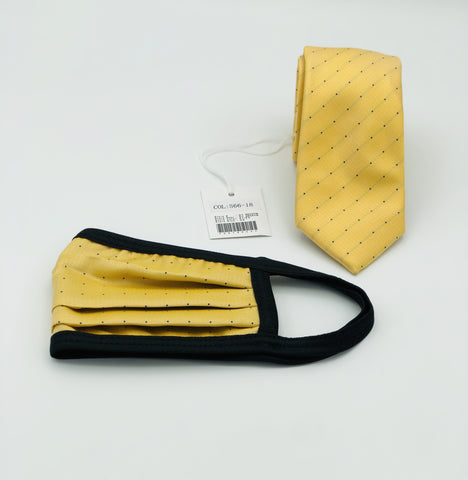 Face Mask & Tie Set S66-18, Yellow /Blue Polka Dots