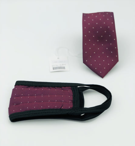 Face Mask & Tie Set S47-7,Burgundy Polka Dots