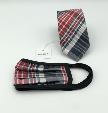 Face Mask & Tie Set S29-6, Black / Red Plaid