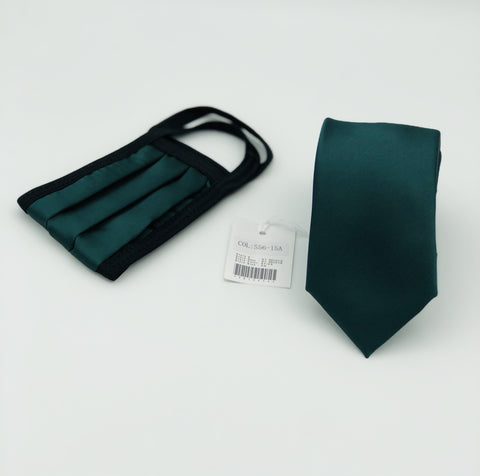 Face Mask & Tie Set S56-15A,Forest Green